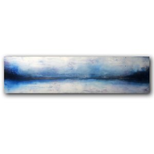 Moody blue and white landscape abstract oil painting
