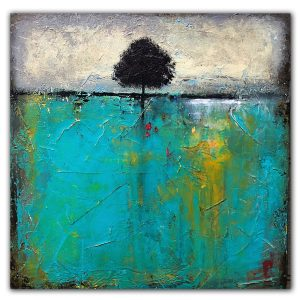 Turquoise acrylic painting with single tree