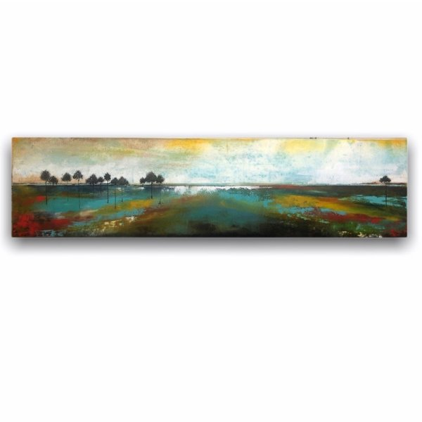 Long landscape abstract oil painting with trees