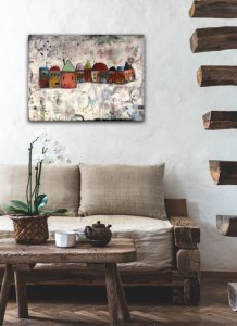Abstract houses oil painting on rustic wall