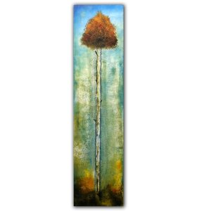 Stand Tall contemporary abstract oil painting with tall tree