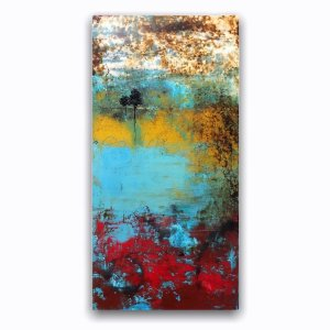 Sunset Walk colorful abstract landscape with tree oil painting