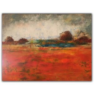 Fall orange abstract oil landscape painting by Jaime Byrd