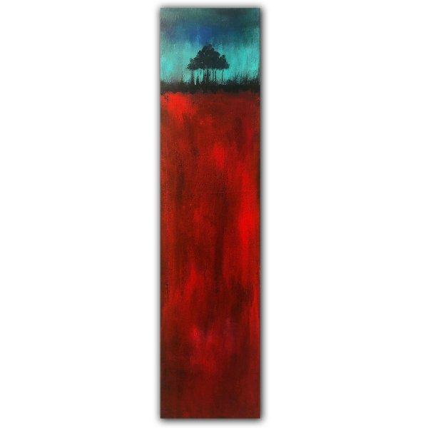Bright red abstract painting with single tree on canvas by Jaime Byrd