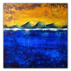 In the Beginning - contemporary abstract oil painting with pyramids
