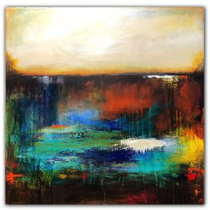 Reflection Pond - Acrylic abstract landscape