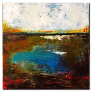 Oil and cold wax abstract landscape painting with blue water by Jaime Byrd