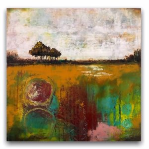 Reflections No. 8 abstract landscape oil painting with trees