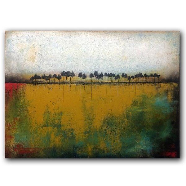 Rooted No. 17 - Modern abstract oil painting with trees
