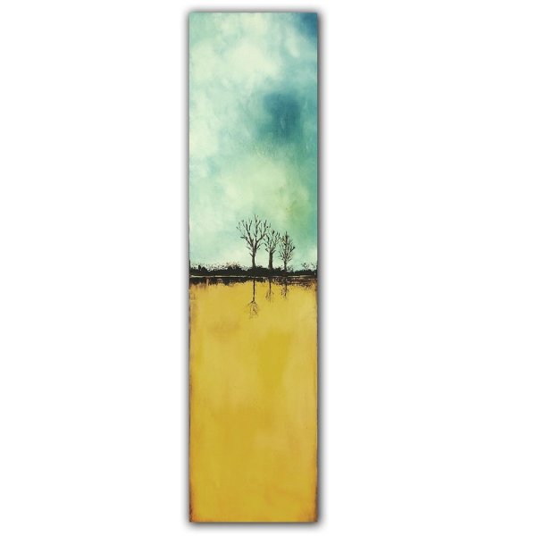 Rooted Trio - Abstract landscape oil painting with trees
