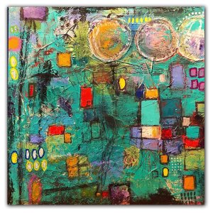 Compartmentalize No. 4 Acrylic abstract painting by Jaime Byrd