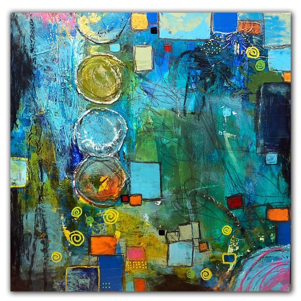 Abstract blue and multi colored painting by Jaime Byrd