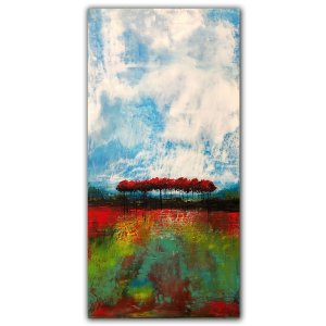 Abstract landscape oil painting of red trees and white clouds by Jaime Byrd