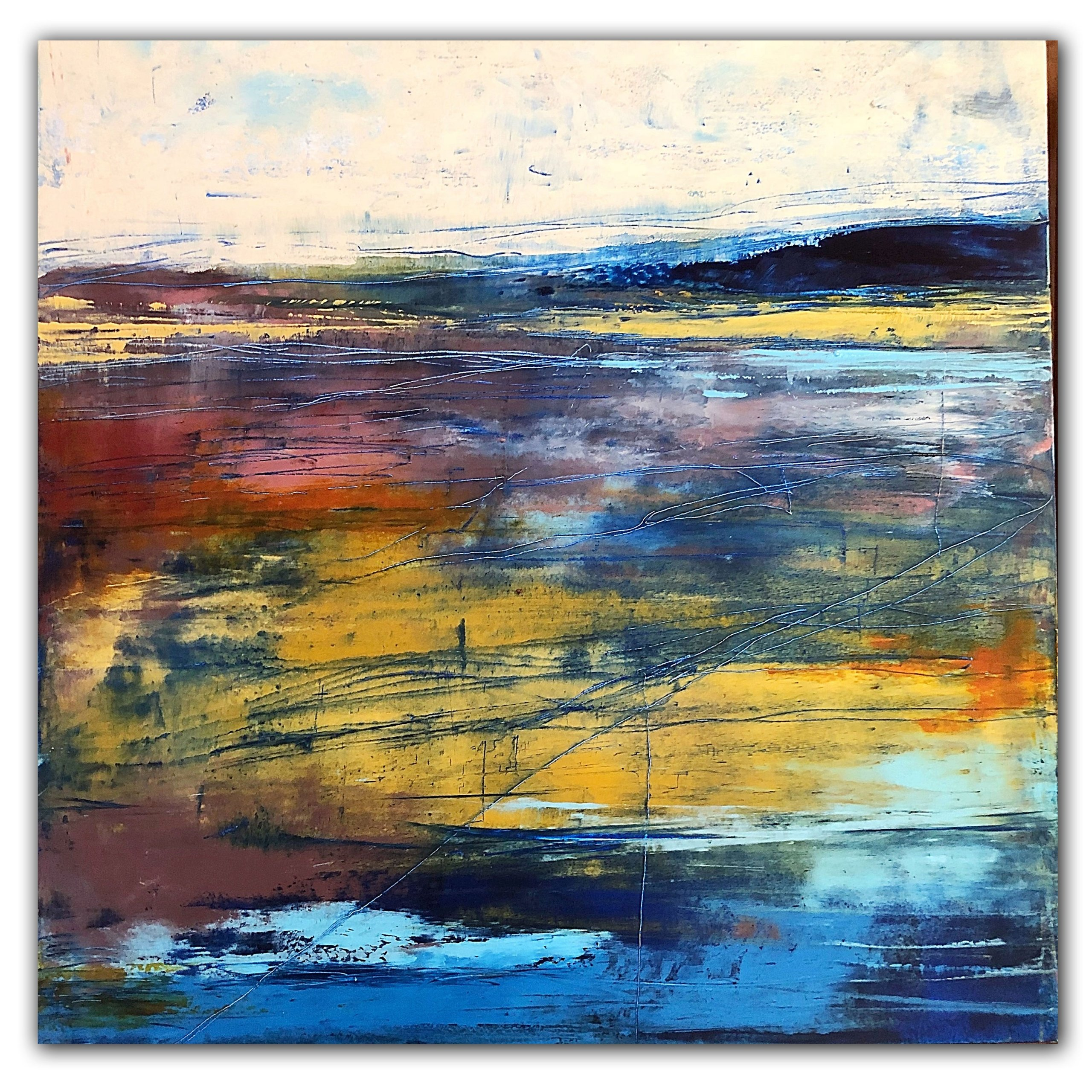 Colorful landscape abstract oil painting by Jaime Byrd