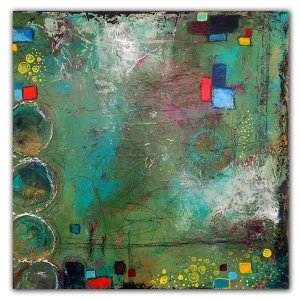 Blue and green mixed media abstract painting by Jaime Byrd