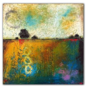 Colorful abstract landscape oil painting by Jaime Byrd