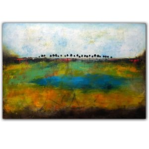 Blue oil abstract landscape by Jaime Byrd