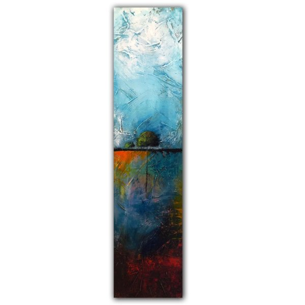 Jaime Byrd abstract oil and cold wax painting with a tree