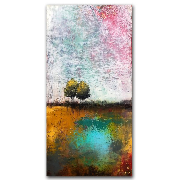 Afternoon - Oil and Cold Wax abstract landscape painting by Jaime Byrd