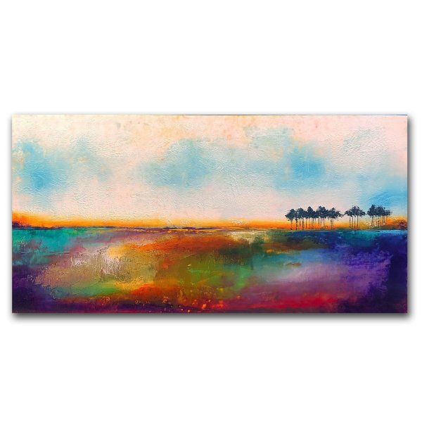Over The Rainbow - Oil and Cold wax painting abstract landscape by Jaime Byrd