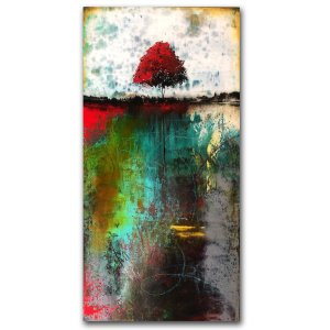 Quiet Time - Abstract landscape with red tree in oil and cold wax by Jaime Byrd