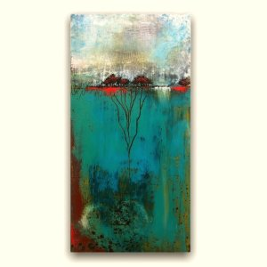 Bonded Together - Oil and Cold Wax abstract landscape painting by Jaime Byrd