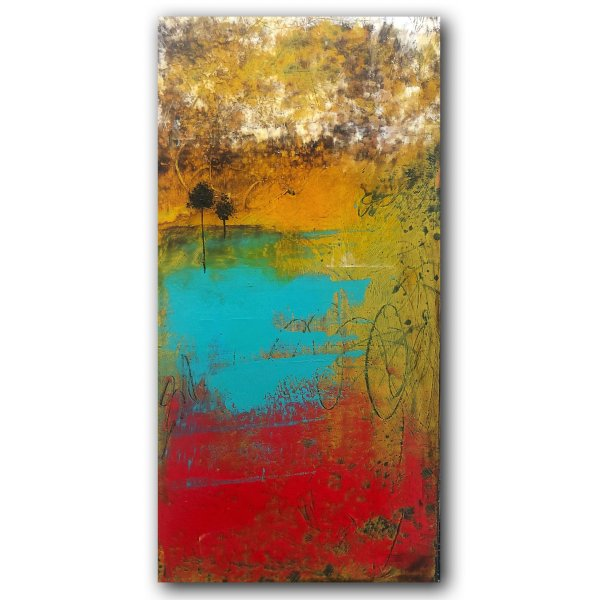 Duo - Abstract oil and cold wax painting by Jaime Byrd