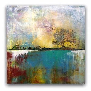 Growth No 2 - Oil and Cold Wax abstract landsccape painting by Jaime Byrd
