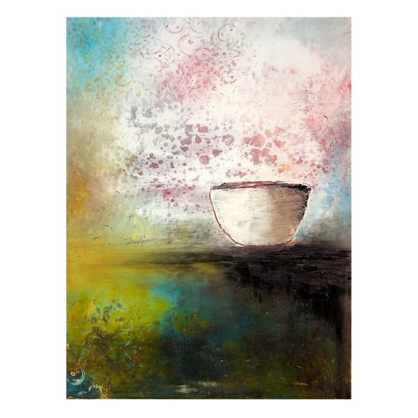 Harmony Bowl - contemporary oil and cold wax painting by Jaime Byrd