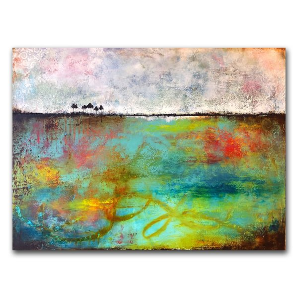 Contemporary art oil and cold wax landscape abstract painting by Jaime Byrd