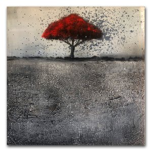 Polarized - Oil and Cold Wax contemporary art with red tree by Jaime Byrd