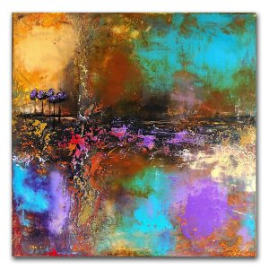abstract mulit colored purple oil painting by Jaime Byrd