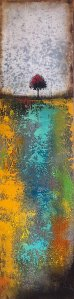 Textured abstract gold and blue tree landscapre oil painting by Jaime Byrd