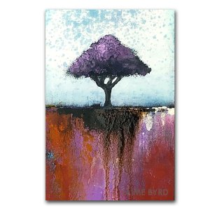 Good Change close up - abstract oil painting with purple tree