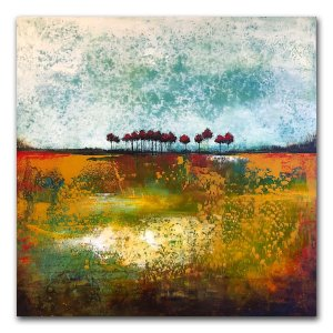 Travel Day - oil and cold wax abstract landscape painting by Jaime Byrd