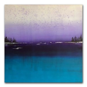 Calmness - oil and cold wax abstract purple and blue landscape by contemporary artist Jaime Byrd