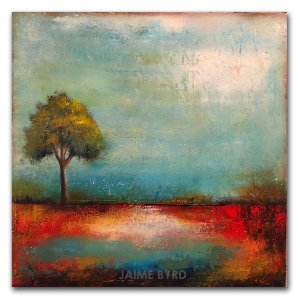 Follow Your Dreams - abstract landscape oil and cold wax painting by contemporary artist Jaime Byrd