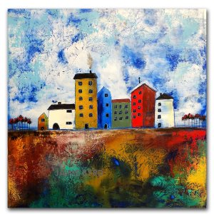 Home - abstract oil and cold wax painting with buildings and houses by contemporary artist Jaime Byrd