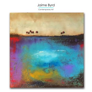 I Hear Frogs - Abstract landscape painting in oil and cold wax by contemporary artist Jaime Byrd
