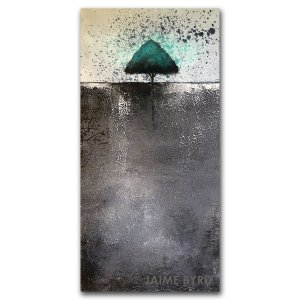 Isolated - oil and cold wax abstract landscape with tree by contemporary artist Jaime Byrd