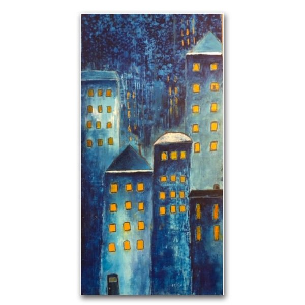 Night Life - Abstract oil and cold wax painting with buildings by contemporary artist Jaime Byrd