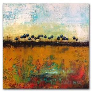 Golden Grove - oil and cold wax abstract landscape painting by contemporary artist Jaime Byrd