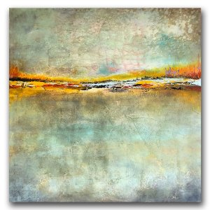 Green Escape - oil and cold wax abstract painting by contemporary artist Jaime Byrd