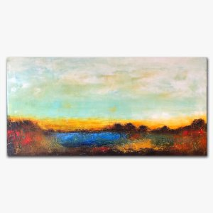 The Desert - abstract landscape oil and cold wax painting with augmented reality by contemporary artist Jaime Byrd