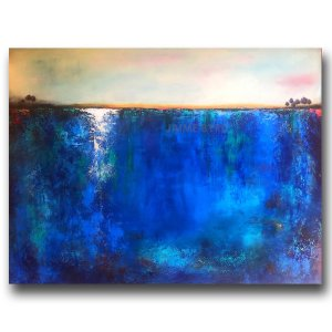 Cenote - abstract landscape oil and cold wax painting with augmented reality by contemporary artist Jaime Byrd
