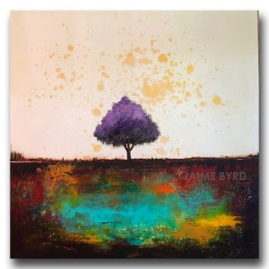 Colorful purple tree oil painting landscape by Jaime Byrd