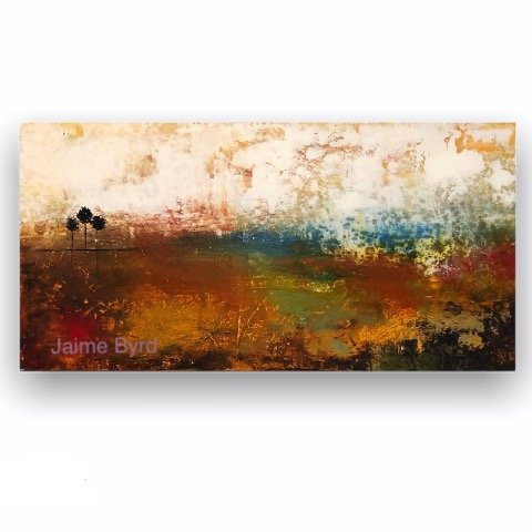 Grounded No. 3 - abstract landscape oil and cold wax painting by contemporary artist Jaime Byrd