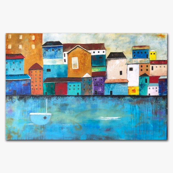 River Front - oil and cold wax painting with buildings and augmented reality by contemporary artist Jaime Byrd