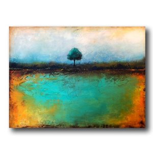 Living Strong - oil and cold wax abstract landscape with AR by contemporary artist Jaime Byrd