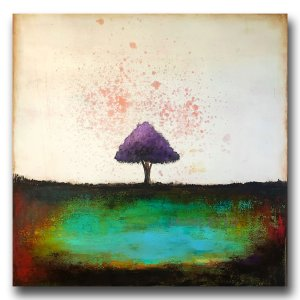 Green and blue oil abstract painting with purple tree by Jaime Byrd